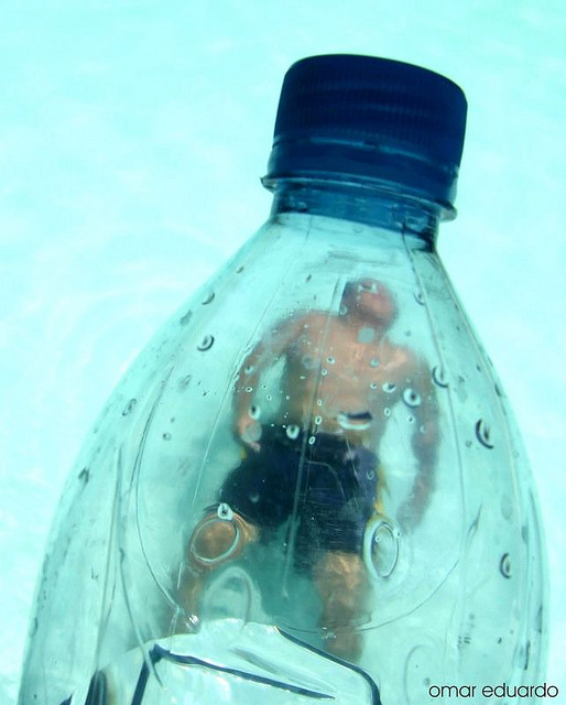bottled water swimming